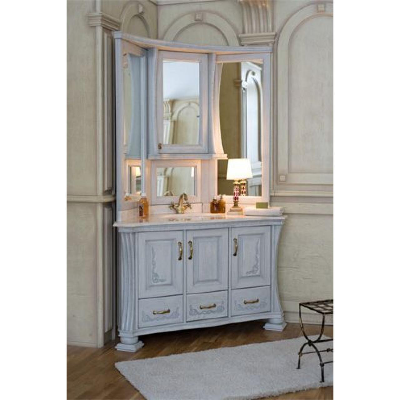 Комплект мебели Аллигатор Классик 125A зеркало на столешнице угловой купить в Москве по цене от 188300р. в интернет-магазине mebel-v-vannu.ru