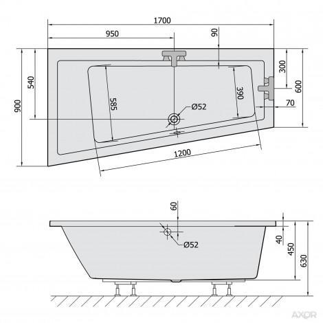 Акриловая ванна Alpen Andra 170x90 L/R купить в Москве по цене от 33120р. в интернет-магазине mebel-v-vannu.ru