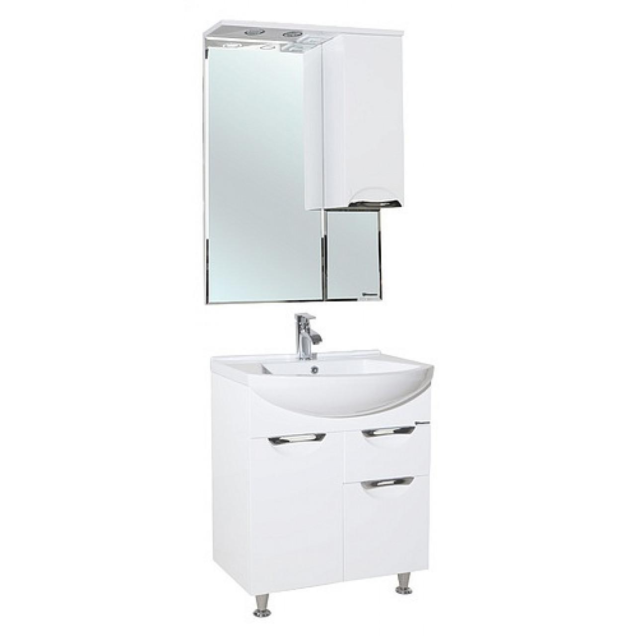 Комплект мебели Bellezza Альфа 65 белая с ящиком купить в Москве по цене от 15475р. в интернет-магазине mebel-v-vannu.ru