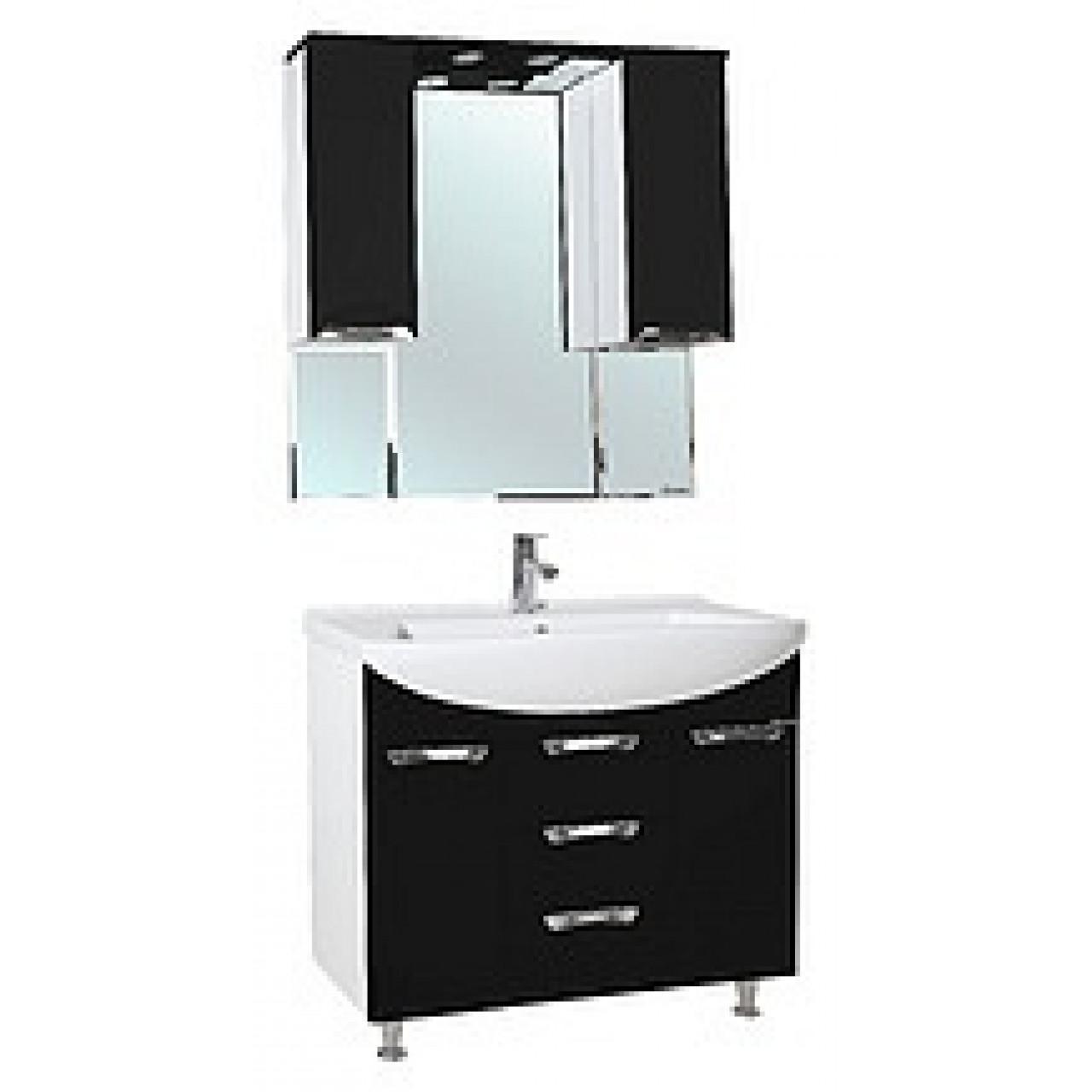 Комплект мебели Bellezza Альфа 90 (черный, бежевый, красный) купить в Москве по цене от 22464р. в интернет-магазине mebel-v-vannu.ru