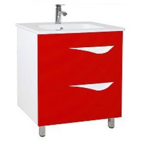 Тумба с раковиной Bellezza Эйфория 60 2 ящика красная