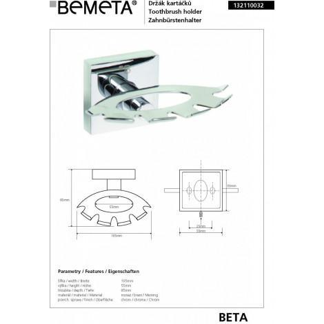 Держатель зубных щеток BEMETA BETA 132110032 купить в Москве по цене от 1036р. в интернет-магазине mebel-v-vannu.ru