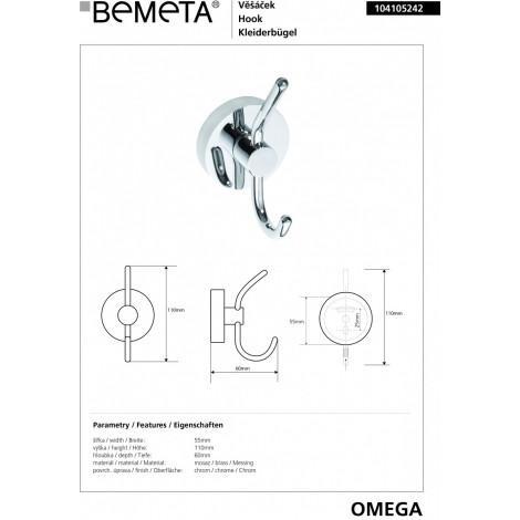 Крючок для одежды BEMETA OMEGA 104105242 55 мм купить в Москве по цене от 1030р. в интернет-магазине mebel-v-vannu.ru