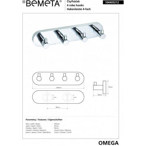 Четверной крючок BEMETA OMEGA 104405212 купить в Москве по цене от 2457р. в интернет-магазине mebel-v-vannu.ru