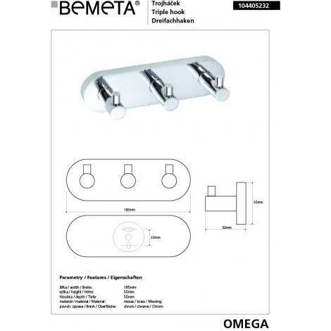 Тройной крючок BEMETA OMEGA 104405232 купить в Москве по цене от 1806р. в интернет-магазине mebel-v-vannu.ru