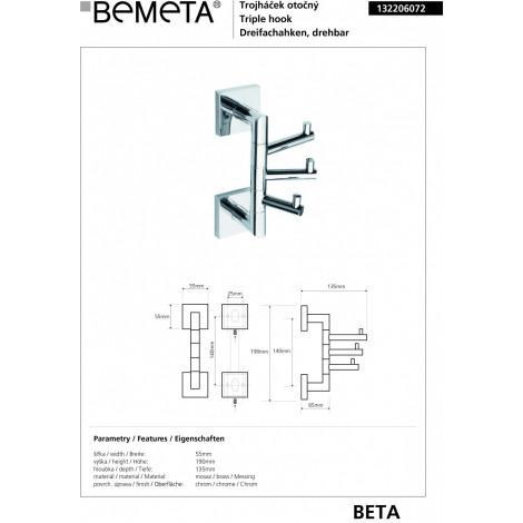 Тройной крючок поворотный BEMETA BETA 132206072 купить в Москве по цене от 2048р. в интернет-магазине mebel-v-vannu.ru