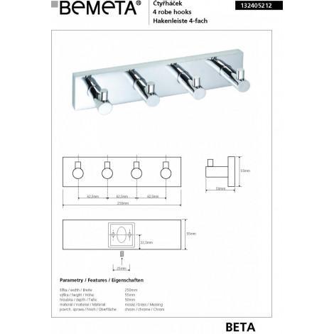 Четверной крючок для одежды BEMETA BETA 132405212 купить в Москве по цене от 2457р. в интернет-магазине mebel-v-vannu.ru