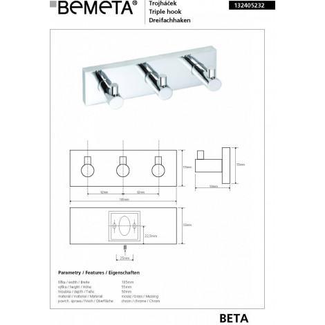 Тройной крючок BEMETA BETA 132405232 купить в Москве по цене от 1936р. в интернет-магазине mebel-v-vannu.ru