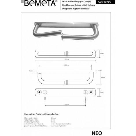 Двойной держатель туалетной бумаги BEMETA NEO 146212245 купить в Москве по цене от 2599р. в интернет-магазине mebel-v-vannu.ru