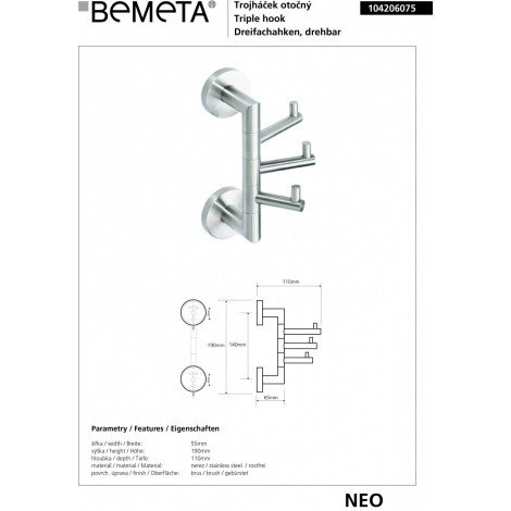 Крючок тройной поворотный BEMETA NEO 104206075 купить в Москве по цене от 2208р. в интернет-магазине mebel-v-vannu.ru