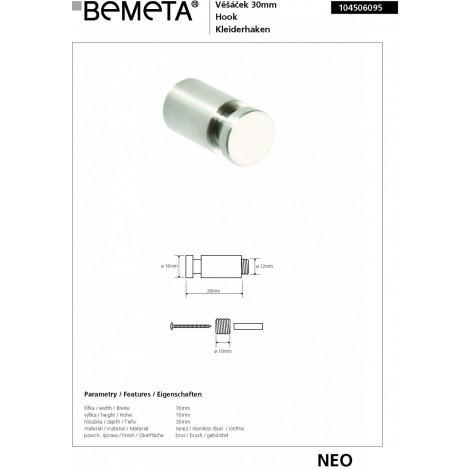 Крючок BEMETA NEO 104506095 30 мм купить в Москве по цене от 343р. в интернет-магазине mebel-v-vannu.ru