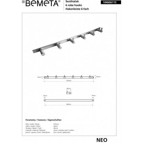 Планка с 6 крючками BEMETA NEO 104606115 купить в Москве по цене от 1794р. в интернет-магазине mebel-v-vannu.ru