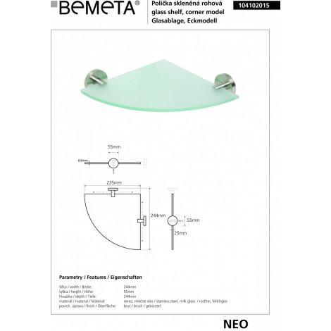 Полочка стеклянная угловая BEMETA NEO 104102015 купить в Москве по цене от 2078р. в интернет-магазине mebel-v-vannu.ru