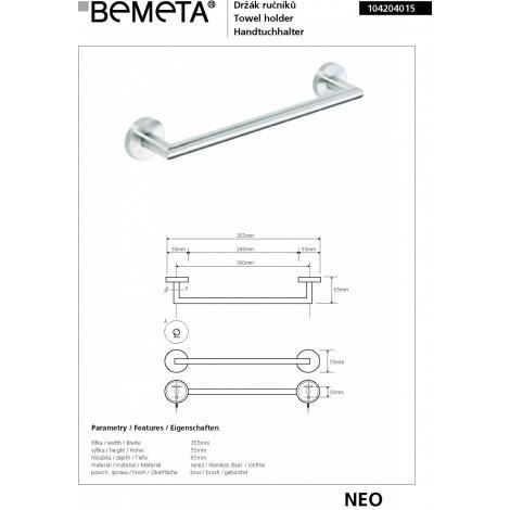 Полотенцедержатель BEMETA NEO 104204015 купить в Москве по цене от 1794р. в интернет-магазине mebel-v-vannu.ru
