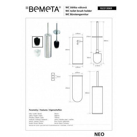 Туалетная щётка с держателем BEMETA NEO 102313069 черная купить в Москве по цене от 3593р. в интернет-магазине mebel-v-vannu.ru