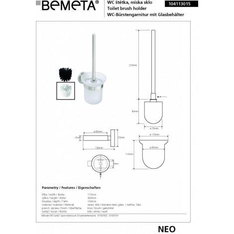Туалетная щетка с стеклянным держателем BEMETA NEO 104113015 купить в Москве по цене от 1806р. в интернет-магазине mebel-v-vannu.ru