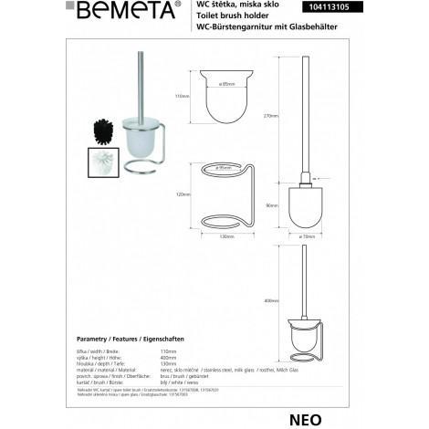 Туалетная щетка с стеклянным держателем BEMETA NEO 104113105 купить в Москве по цене от 1557р. в интернет-магазине mebel-v-vannu.ru