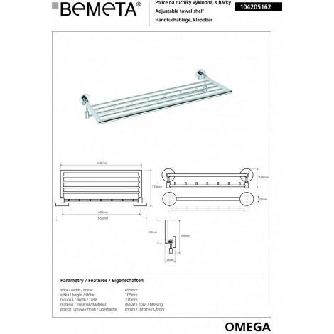 Полочка для полотенец с крючками BEMETA OMEGA 104205162 купить в Москве по цене от 6015р. в интернет-магазине mebel-v-vannu.ru