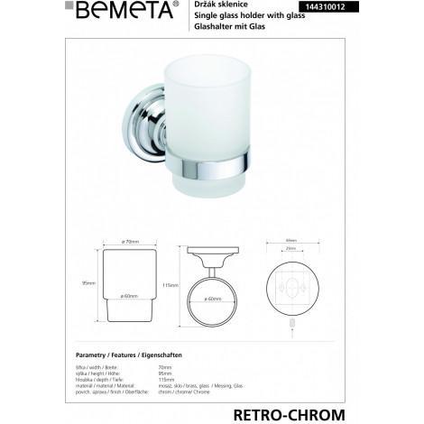 Держатель стакана BEMETA RETRO 144310012 Хром купить в Москве по цене от 1427р. в интернет-магазине mebel-v-vannu.ru