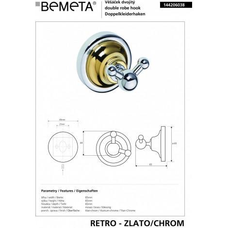 Крючок двойной BEMETA RETRO 144206038 Хром-золото купить в Москве по цене от 1207р. в интернет-магазине mebel-v-vannu.ru