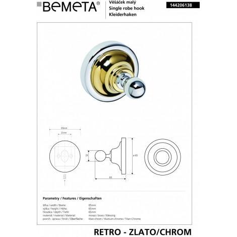 Крючок BEMETA RETRO 144206138 Хром-золото купить в Москве по цене от 1060р. в интернет-магазине mebel-v-vannu.ru