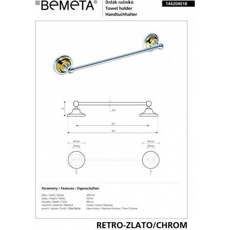 Держатель полотенца BEMETA RETRO 144204018 Хром-золото купить в Москве по цене от 2327р. в интернет-магазине mebel-v-vannu.ru