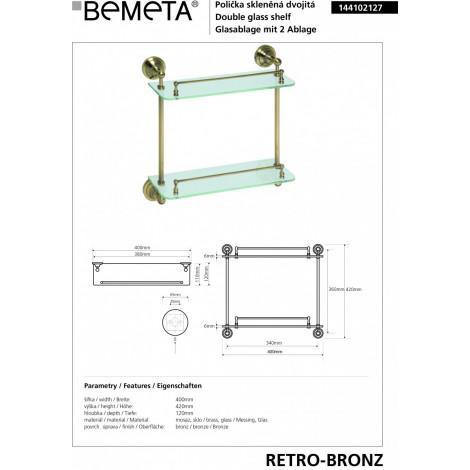Полочка стеклянная двойная BEMETA RETRO 144102127 купить в Москве по цене от 12000р. в интернет-магазине mebel-v-vannu.ru