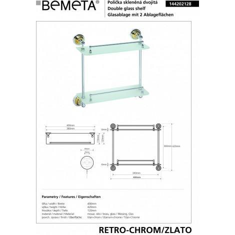Полочка стеклянная BEMETA RETRO 144202128 Хром-золото купить в Москве по цене от 6867р. в интернет-магазине mebel-v-vannu.ru
