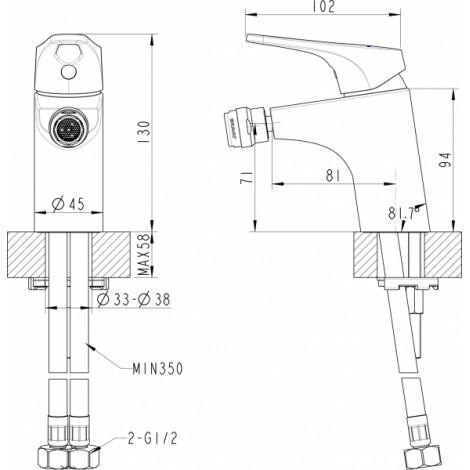 Смеситель Bravat Drop-D F348162C для биде купить в Москве по цене от 3932р. в интернет-магазине mebel-v-vannu.ru