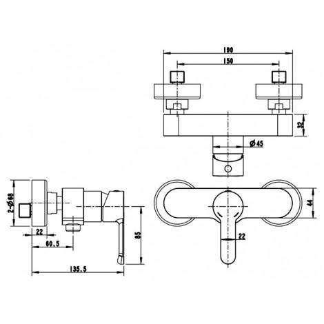 Смеситель Bravat Stream F93783C-01A для душа
