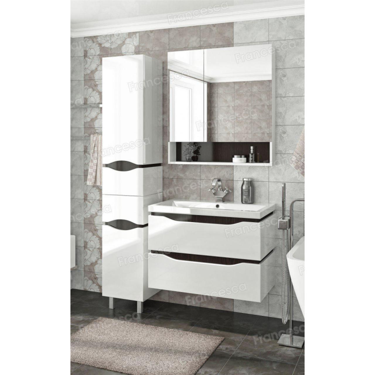Комплект мебели Francesca Latina 80 подвесной белый-венге купить в Москве по цене от 38520р. в интернет-магазине mebel-v-vannu.ru