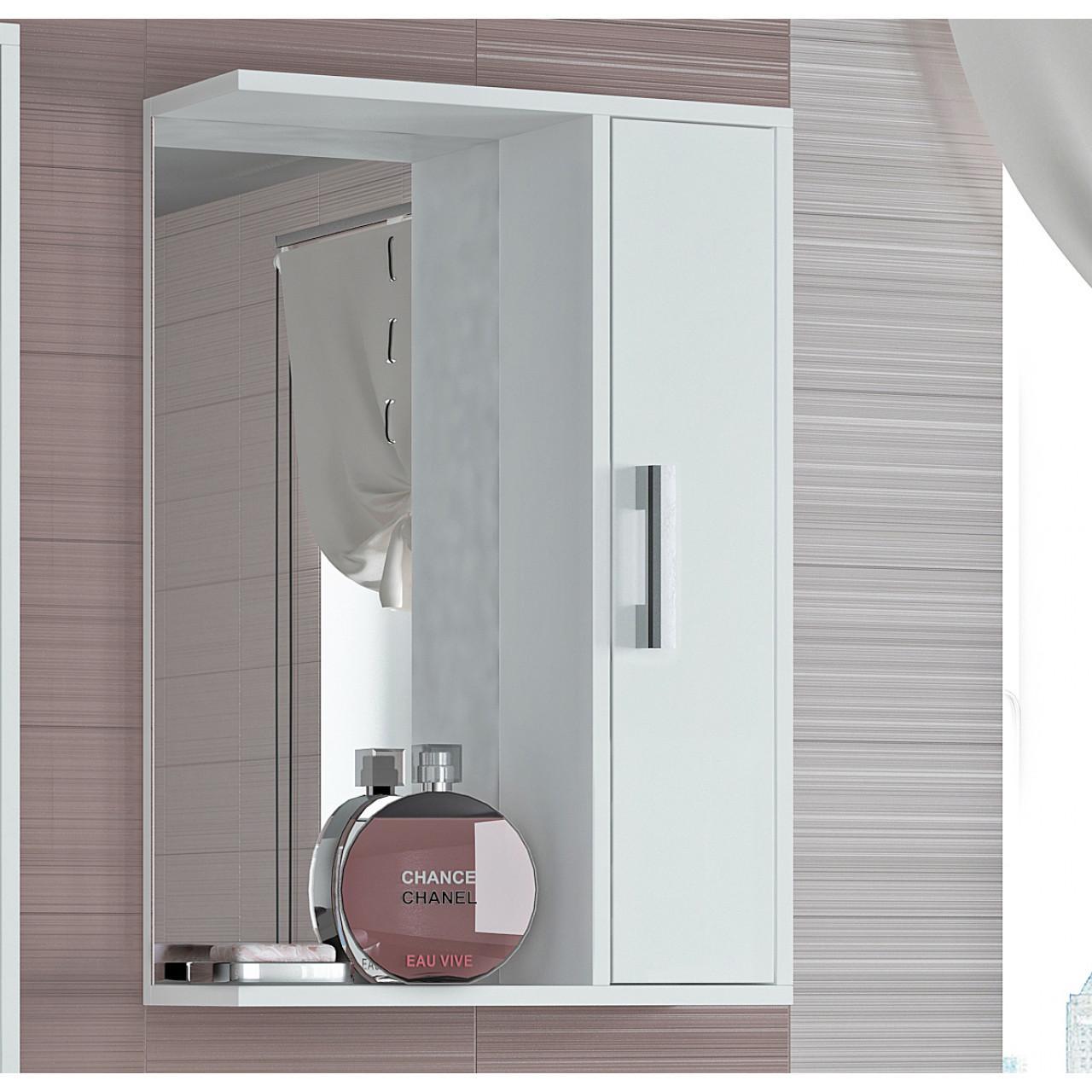 Шкаф-зеркало Francesca Eco 50 белый купить в Москве по цене от 3190р. в интернет-магазине mebel-v-vannu.ru