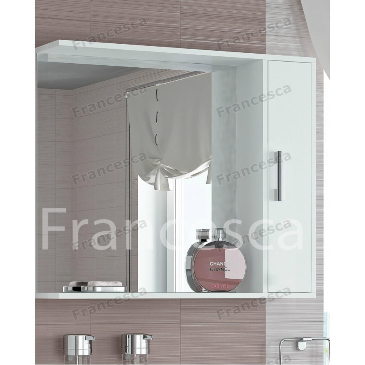Шкаф-зеркало Francesca Eco 85 белый купить в Москве по цене от 4210р. в интернет-магазине mebel-v-vannu.ru