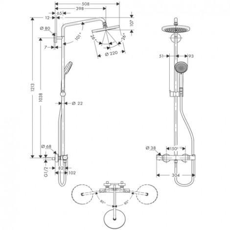 Душевая стойка Hansgrohe Croma 220 Showerpipe 27185000 купить в Москве по цене от 65583р. в интернет-магазине mebel-v-vannu.ru