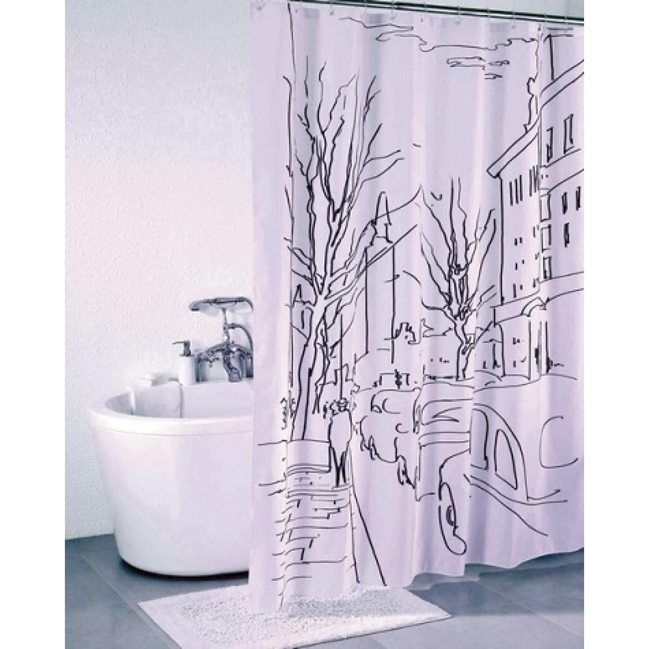 Штора для ванной комнаты Iddis Street Line купить в Москве по цене от 990р. в интернет-магазине mebel-v-vannu.ru