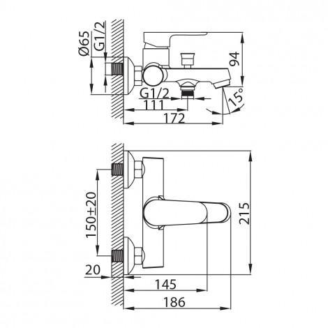 Смеситель Milardo Dover DOVSB00M02 для ванны с душем купить в Москве по цене от 5180р. в интернет-магазине mebel-v-vannu.ru