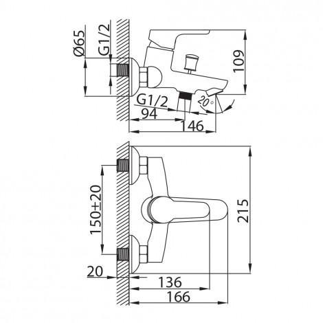 Смеситель Milardo Gibraltar GIBSB00M02 для ванны с душем купить в Москве по цене от 4870р. в интернет-магазине mebel-v-vannu.ru