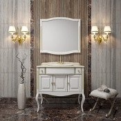 Комплект мебели Opadiris Лаура 100 белая с патиной купить в Москве по цене от 95901р. в интернет-магазине mebel-v-vannu.ru