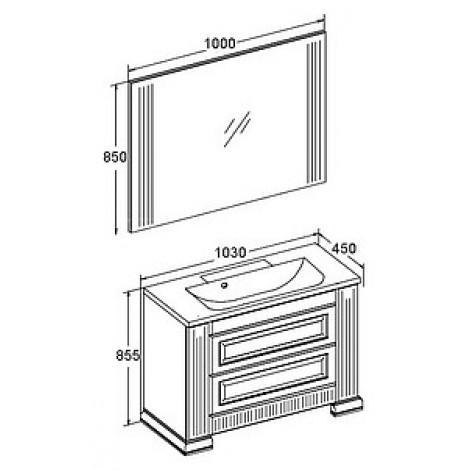 Комплект мебели Opadiris Оникс 100 золотая патина купить в Москве по цене от 52934р. в интернет-магазине mebel-v-vannu.ru