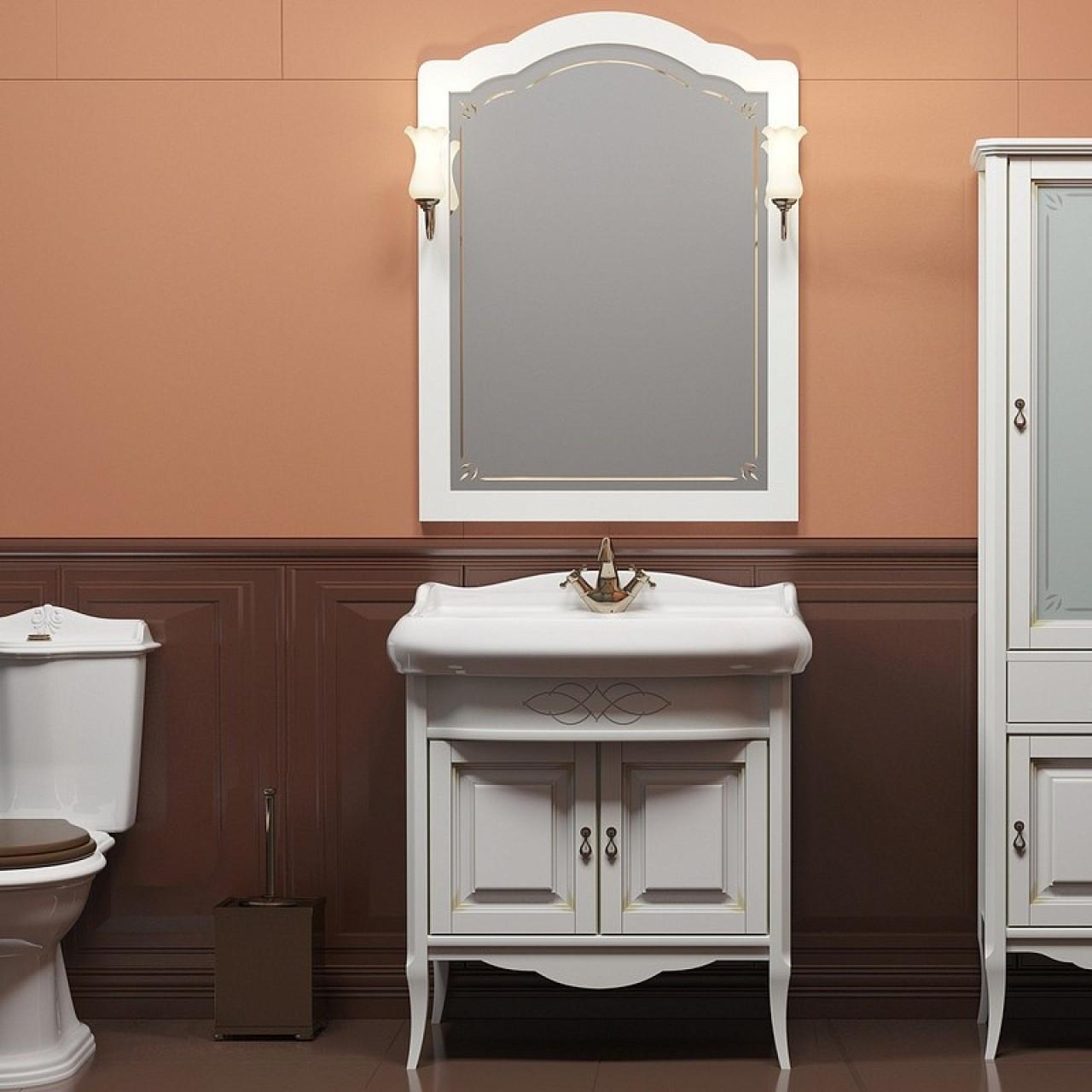 Комплект мебели Opadiris Лоренцо 80 белый купить в Москве по цене от 50862р. в интернет-магазине mebel-v-vannu.ru