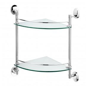 Полка для ванной двойная Raiber R70128 стеклянная, угловая