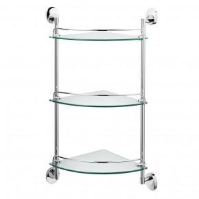 Полка для ванной тройная Raiber R70129 стеклянная, угловая
