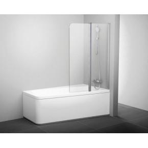 Шторка для ванны двухэлементная Ravak серия 10°10CVS2-100 R блестящая+транспарент 7QRA0C03Z1