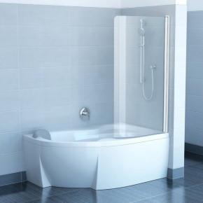 Шторка для ванны Ravak Chrome CVSK1 ROSA 160/170 R белая+транспарент 7QRS0100Y1