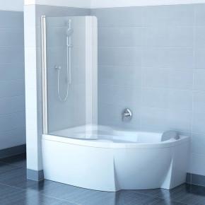 Шторка для ванны Ravak Chrome CVSK1 ROSA 160/170 L белая+транспарент 7QLS0100Y1