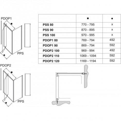 Жесткая душевая стенка Ravak Pivot PPS-90 белая+транспарент 90G70100Z1 купить в Москве по цене от 16468р. в интернет-магазине mebel-v-vannu.ru