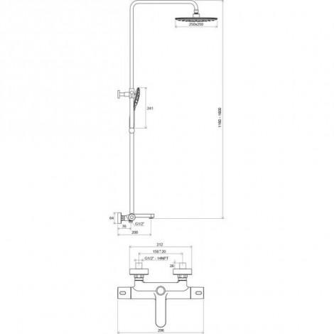 Душевая стойка для ванны Ravak Termo 300 TE 092.00/150 X070098 с термостатическим смесителем и ручным душем купить в Москве по цене от 35420р. в интернет-магазине mebel-v-vannu.ru