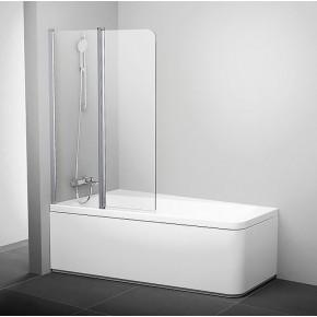 Шторка для ванны двухэлементная Ravak серия 10°10CVS2-100 L блестящая+транспарент 7QLA0C03Z1