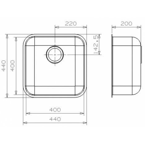 Кухонная мойка Reginox IB 40x40 U LUX 41580 купить в Москве по цене от 12020р. в интернет-магазине mebel-v-vannu.ru