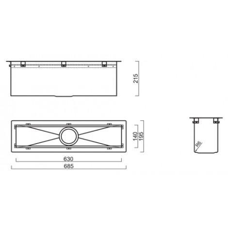 Кухонный блок Reginox Manhattan 70 L 685x195 OKG